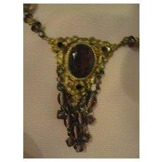 Art Nouveau Purple Dangle Necklace - Free shipping