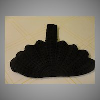 Crocheted Shells Black Purse/handbag - b38