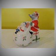 Mount Clemons Pottery Christmas Mouse Bank - b46