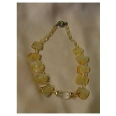 Mellow Yellow Chunky Necklace with Silver Closure - Free Shipping
