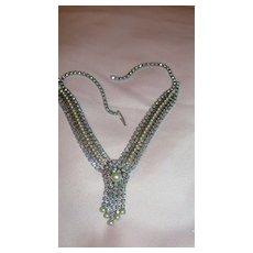 Shimmery Aurora Borealis Necklace with Rhinestone tassel - Free shipping