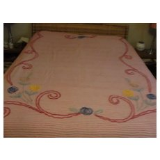 Scrolls and Flowers Pink Chenille Full Size Bedspread/cover