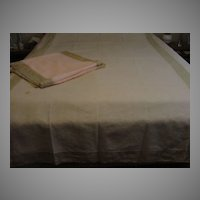 Pale Pink with Ecru Lace Full Size Bed Cover - b49