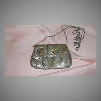 Fold Over Rhinestone Clasp Silver Mesh Purse - b52