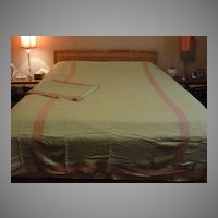 Nick and Nora Charles Spring Green and ecru Lace Twin Bed Covers - b48
