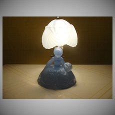 Blue Lady Glass Lamp and Shade