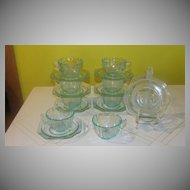 Indiana Glass ''Madrid'' Teal Cup and Saucer
