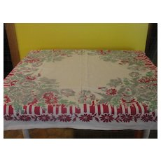 Gray and Red Floral tablecloth