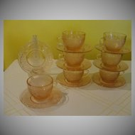 Indiana Glass Tiara Pink Sandwich Cups and Saucers