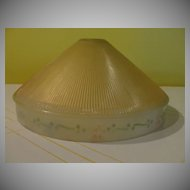 Ribbed Glass Ceiling Shade with Reverse Painted rim