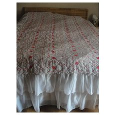 Double Ruffle White with Red Embroidery Full Size Bedspread