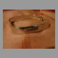 Squared Off Silver Hinged Bangle Bracelet Free shipping