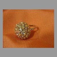 Rhinestone Rhinestone and Aurora Borealis Costume Ring Size 6 1/2'' - Free shipping