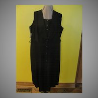On the Town Button Front Black Dress with Shawl Collar