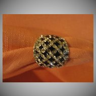 Bold Black and Bright Rhinestone Dome Ring - Free shipping