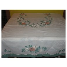 Printed and Painted Flower Tablecloth - B124