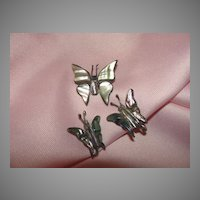 Butterflies Aflutter Abalone and Silver Pin and Screw Back Earrings - Free shipping