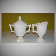 Jeanette Glass Baltimore Pears Pink Milk Glass Creamer and Covered Sugar - b130