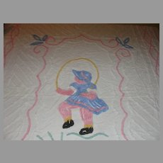 Little Girl Jumping Rope Chenille Crib/youth Size Spread