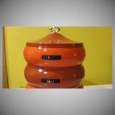 Tower of Staples Stacking Orange and Burgundy Canister Set