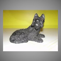 Take Him Home Black Scottie Dog Figure with Glass Eyes by Universal Statuary - b134