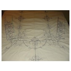 Embroidered Ivory Cut-work Tablecloth and Napkins - b133