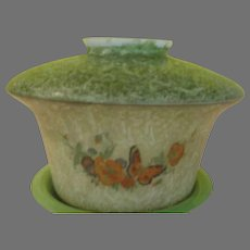 Forever in Bloom Flower and Butterfly Painted Glass Shade - g
