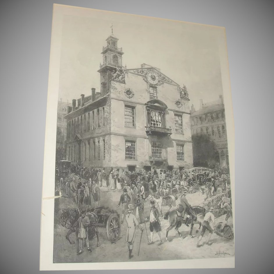 Boston In The Olden Time Photogravure From Painting By
