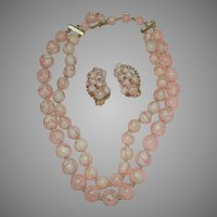 Crackle Bead Double Strand Necklace and Clip-on Earrings - Free shipping