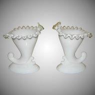 Fenton Silvercrest Cornucopia Vase/candle holder - b140