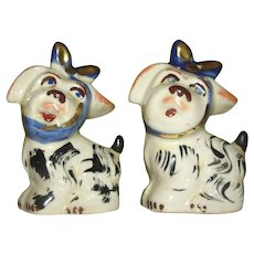 Mugsey Dog with toothache Gold Trimmed Shawnee salt and Pepper Shakers