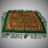 Paisley Green Wool Scarf with Fringe - Free shipping - b143