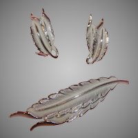 Elongated White Enamel Leaves pin and Clip-on Earrings - Free shipping