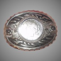 1922 Peace Dollar In Belt Buckle