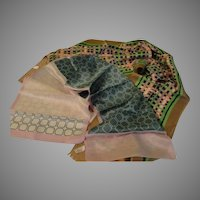 """Green Squared """"Jacques Piaget"""" Oblong Scarf - Free shipping"""