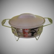 Modern Hostess Mid-century Pink Bauer Covered Casserole on Stand