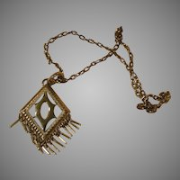Fringed Pendant On Heavy Chain Necklace - Free shipping