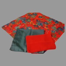 Red, Blue and Flower Trio of Scarfs  - b143