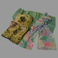 Blue and Green trio of Scarfs - b143