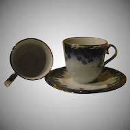 Apulum Romanian Blue with Silver Trim Demitasse Cup and Saucer with Extra Cup- B144