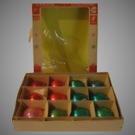 Blue, Green and Red Christmas Tree Ornaments in Box - b150