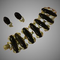 Extravagant Black Coro Bracelet and Clip-on Earrings - Free shipping