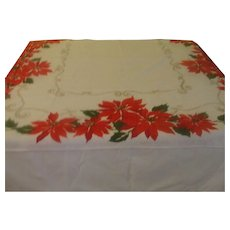 Poinsettia and golden Scrolls Tablecloth - b151