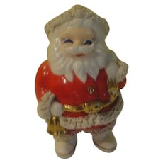 Bell Ringing Santa with Spaghetti Trim Bank - b151