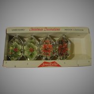 Hexagonal Jewel Brite Christmas Tree Ornaments with Holly and Poinsettias in Box - b154
