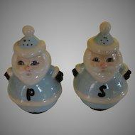 Baby Blue Santa salt and Pepper Shakers - b166