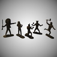 5 Little Indian Cast Metal Toys - b170