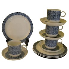 Rosenthal Nordic Cobalt Swirls and Dots 3 Piece Luncheon Set - b170