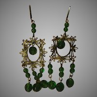 Green Stone Chandelier Screw Back Earrings - Free shipping