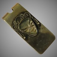 Abalone ''Alien'' Mask Silver Money clip - Free shipping